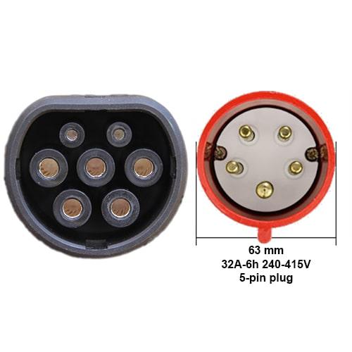 3-EV EVSE Type2 (3x32A) IP65 Cable de carga para vehículo eléctrico