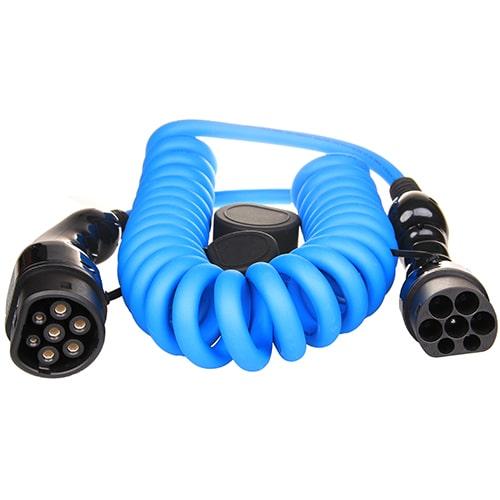 1-EV Type2 -> Type2 spiral (3x16A) Cable de carga para vehículo eléctrico