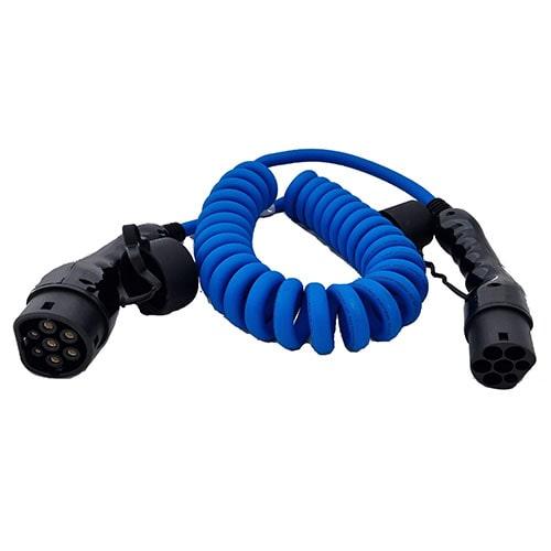 3-EV Type2 -> Type2 spiral (3x16A) Cable de carga para vehículo eléctrico